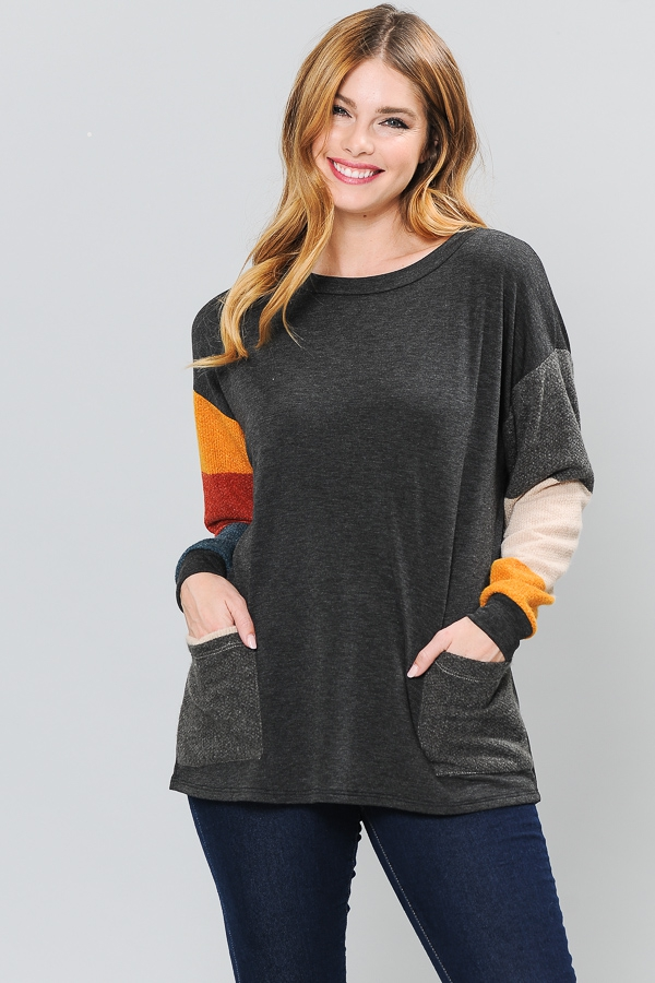 MULTI STRIPE CONTRAST  TUNIC TOP WIT - orangeshine.com