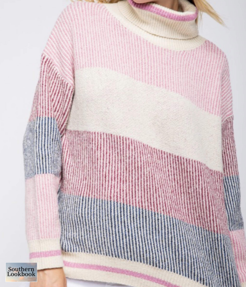 STRIPE COLOR BLOCK TURTLENECK SWTR - orangeshine.com