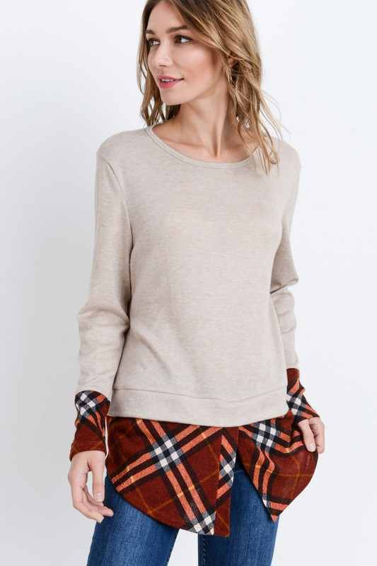 Plaid Insert Layering Top - orangeshine.com