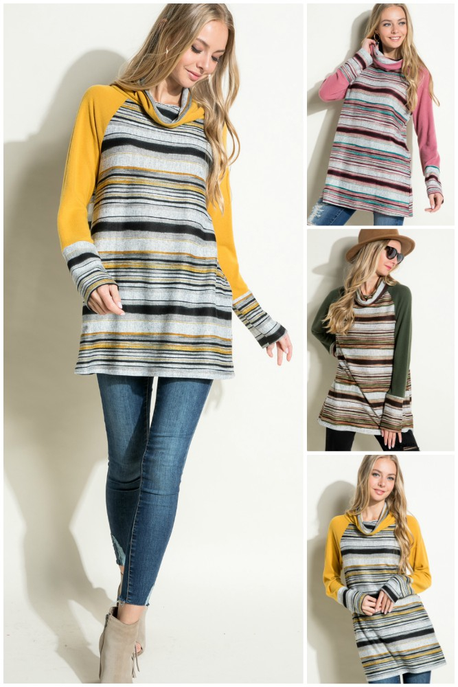 MELLANGE STRIPE TURTLE NECK TOP - orangeshine.com