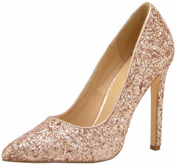 GLITTERY POINTY TOE STILETTO PUMPS - orangeshine.com