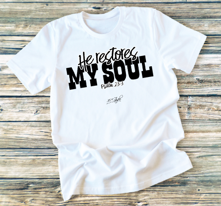 GRAPHIC TEE - He Restores My Soul - orangeshine.com
