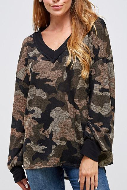 DEEP V NECK CAMOUFLAGE SWEATER TOP - orangeshine.com