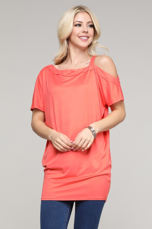 ONE SHOULDER TOP WITH STRAP TUNIC - orangeshine.com