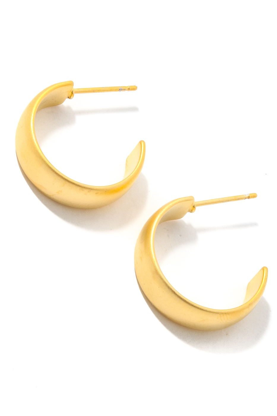 Flat Matte Metallic Hoop Earrings - orangeshine.com