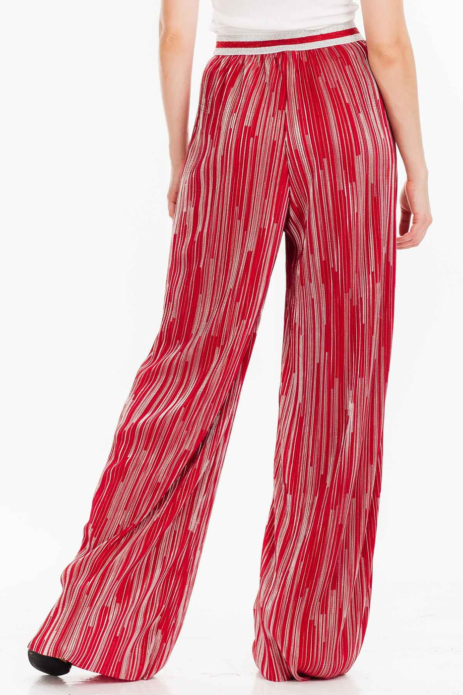 METALLIC STRIPED LONG WIDE PANTS  - orangeshine.com