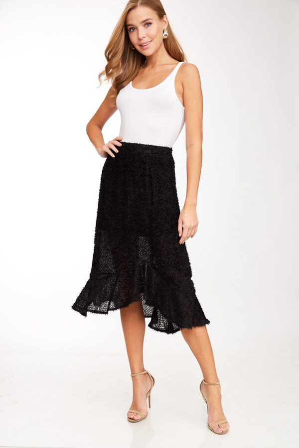 Fuzzy Terry Ruffle Skirt - orangeshine.com