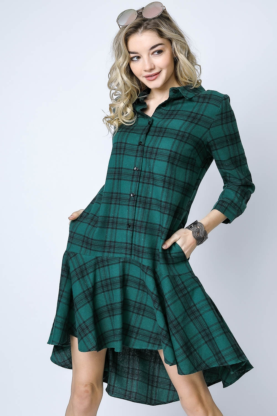 DROP WAIST PLAID SHIRT DRESS - orangeshine.com