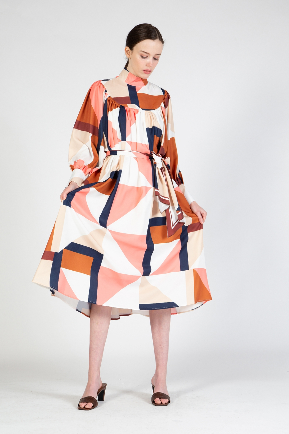 Midi Length Dress with Geo Print - orangeshine.com