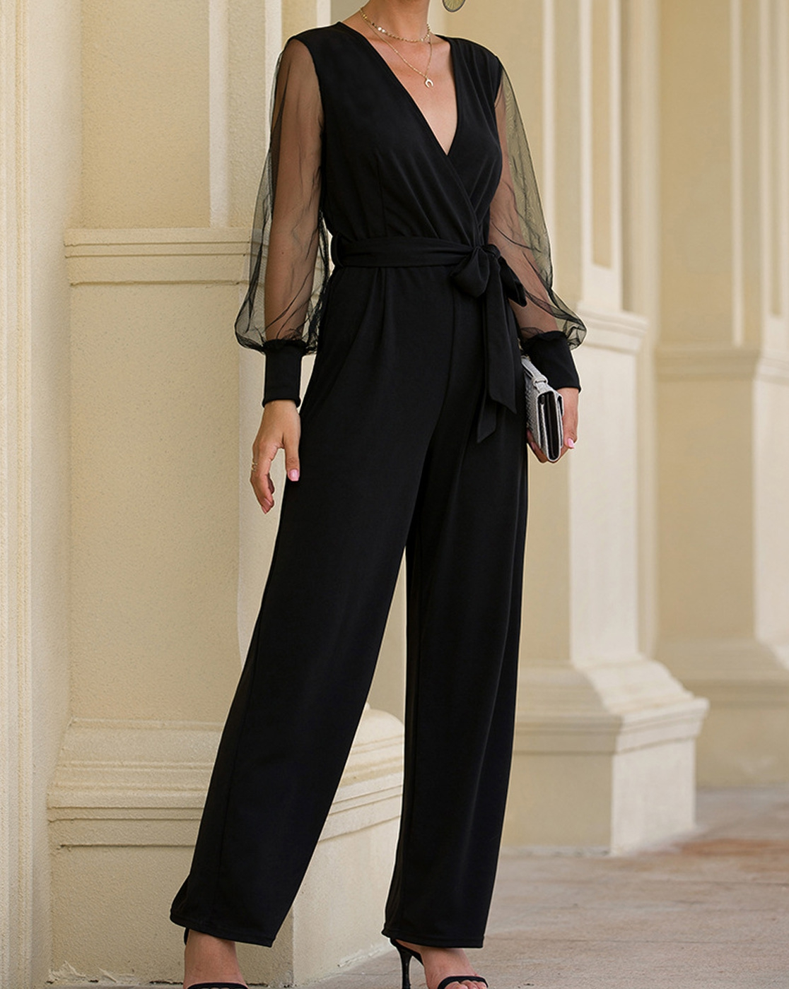 Sexy V Neck Wrap Jumpsuit - orangeshine.com