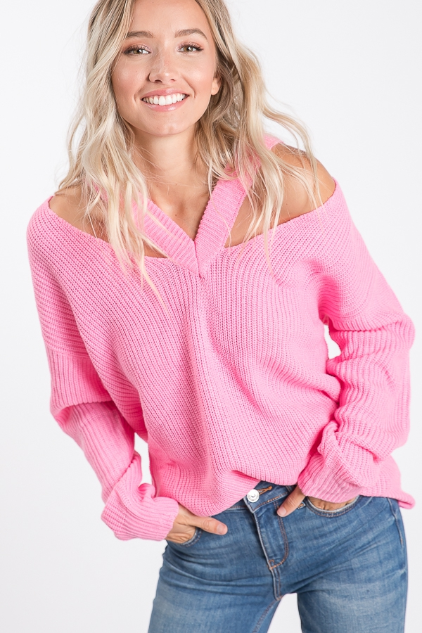 SOLID SWEATER WITH V OPEN SHOULDER D - orangeshine.com