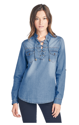 Womens Chambray Lace Up Top - orangeshine.com