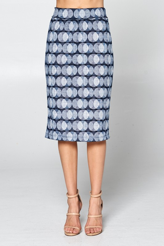 Circle Print Fitted Pencil Skirt - orangeshine.com