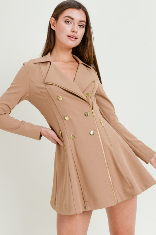 Double Breasted Trench Coat Dress - orangeshine.com