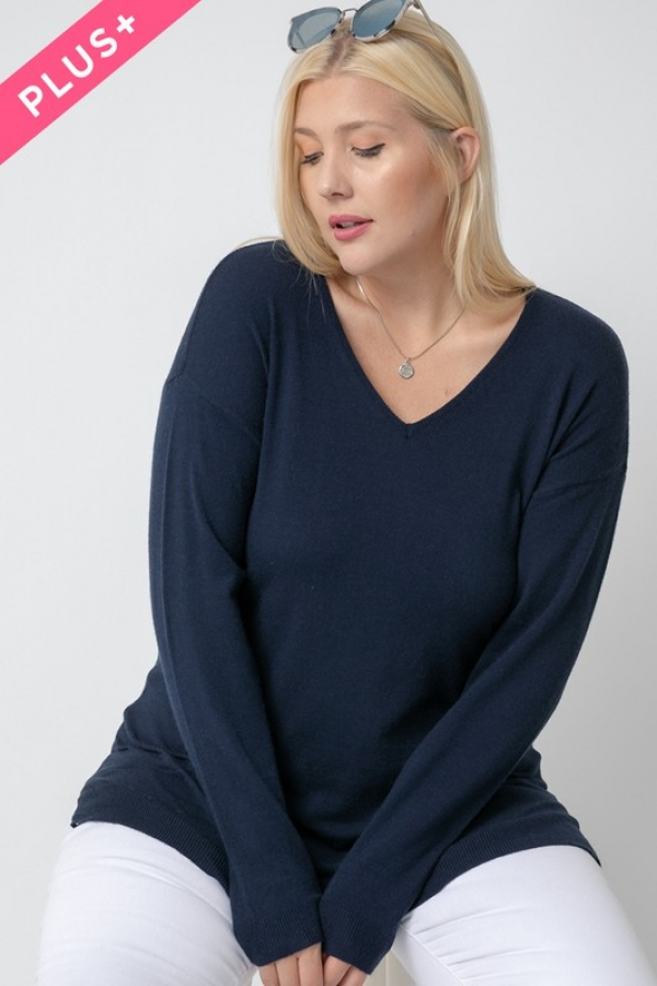 SOFT V-NECK COZY SWEATER. - orangeshine.com