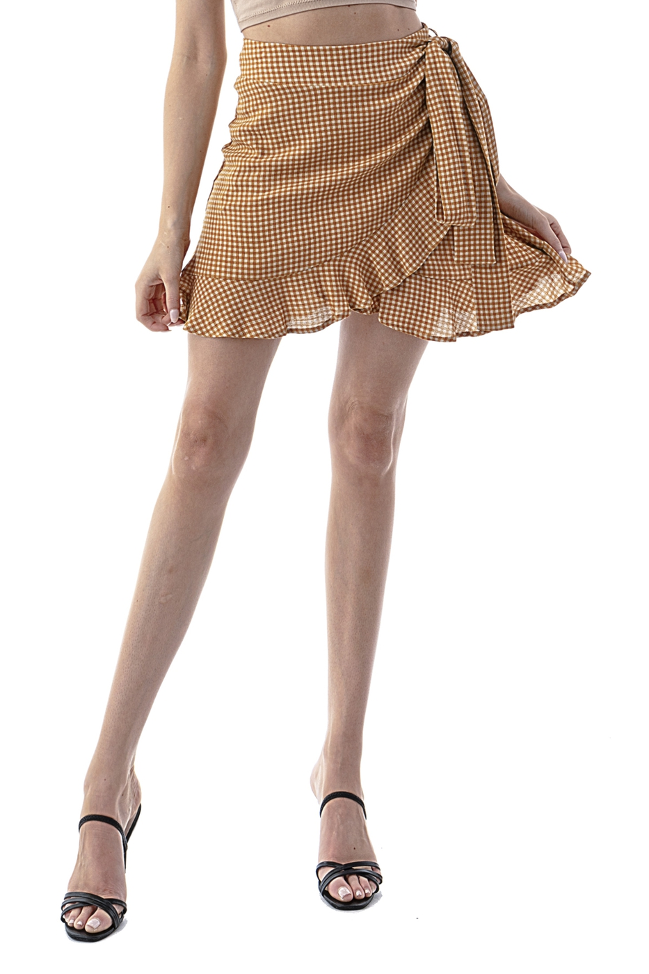 Dorothy Check Wrap Skirt - orangeshine.com