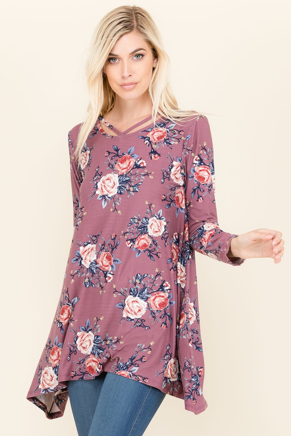 FLORAL BRAID NECK TUNIC - orangeshine.com