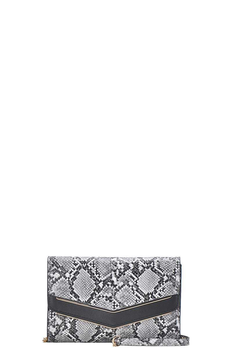 PYTHON V FLAP ACCENT CLUTCH W CHAIN - orangeshine.com