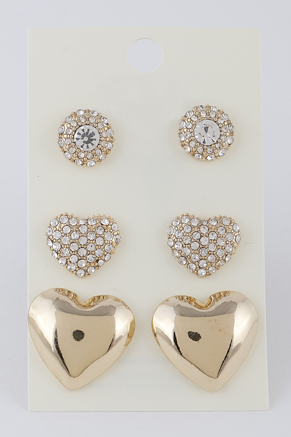Fine Heart Stud Earrings Set - orangeshine.com