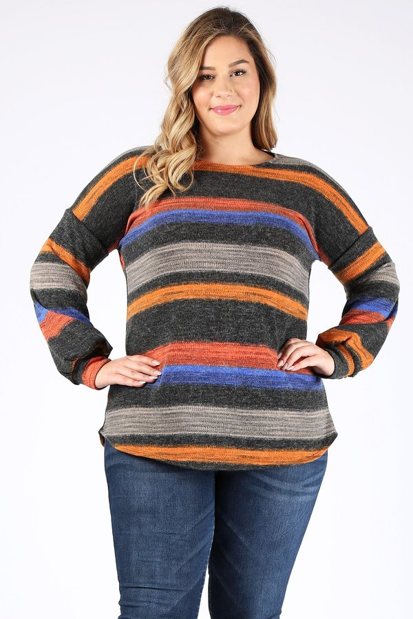 PLUS SIZE BUBBLE SLEEVES MULTI STRIP - orangeshine.com