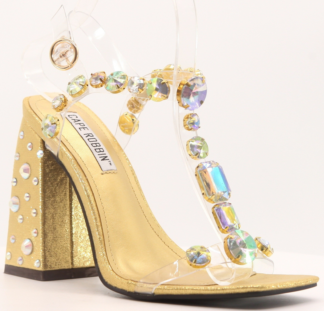 RHINESTONE JEWELED HEELED SANDALS - orangeshine.com