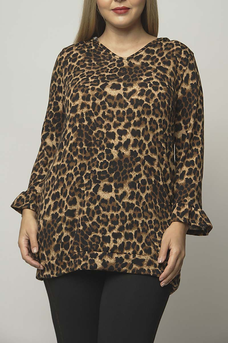 ANIMAL PRINT RUFFLE SLEEVE HOODIE TO - orangeshine.com