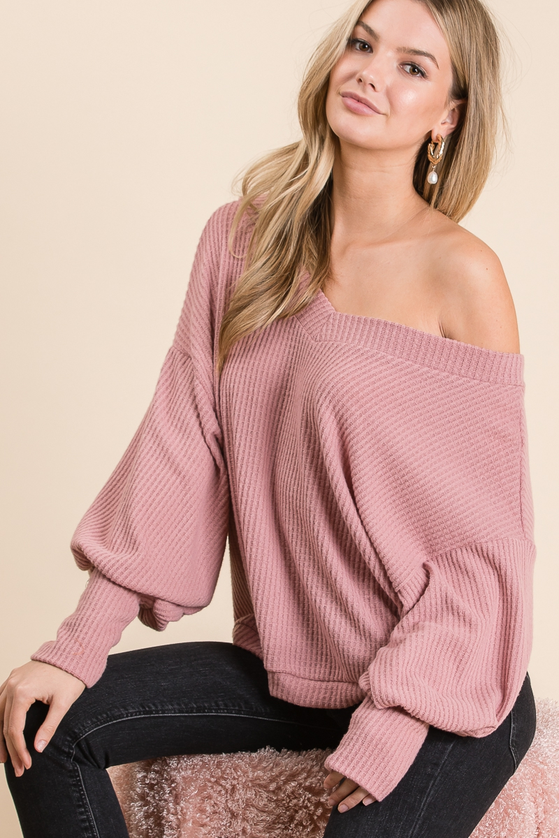 SOLID V LONG PUFF SLEEVE SWEATER - orangeshine.com