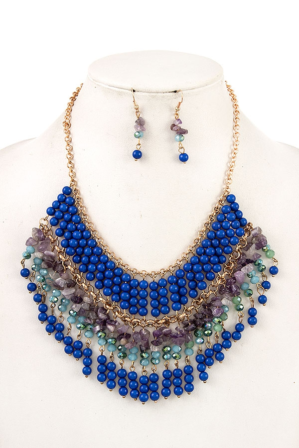 MIX BEAD FRINGE BIB NECKLACE SET - orangeshine.com