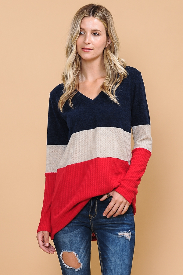 V-NECK COLOR BLOCK TUNIC - orangeshine.com