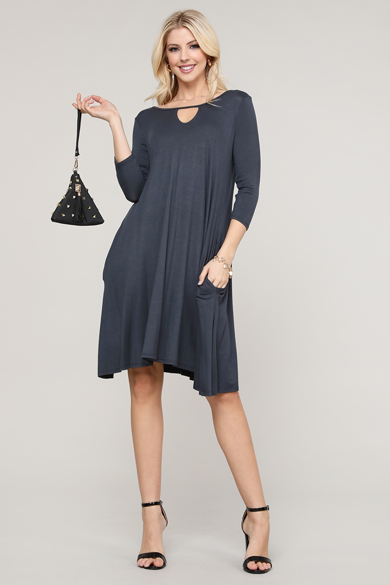 Knit Keyhole Loose Fit Dress - orangeshine.com