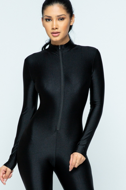 Zip up long sleeve catsuit - orangeshine.com