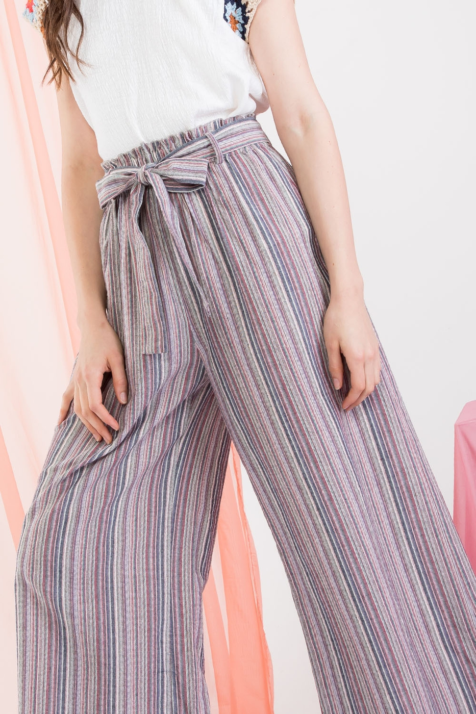 Multi Colored Stripe Paperbag Pant - orangeshine.com