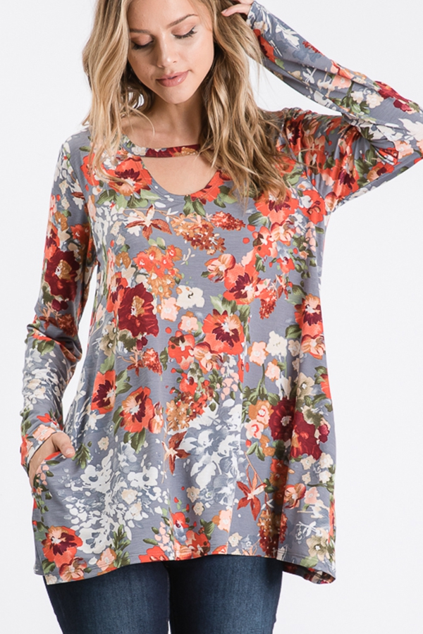 FLORAL PRINT TOP WITH KEY HOLE - orangeshine.com