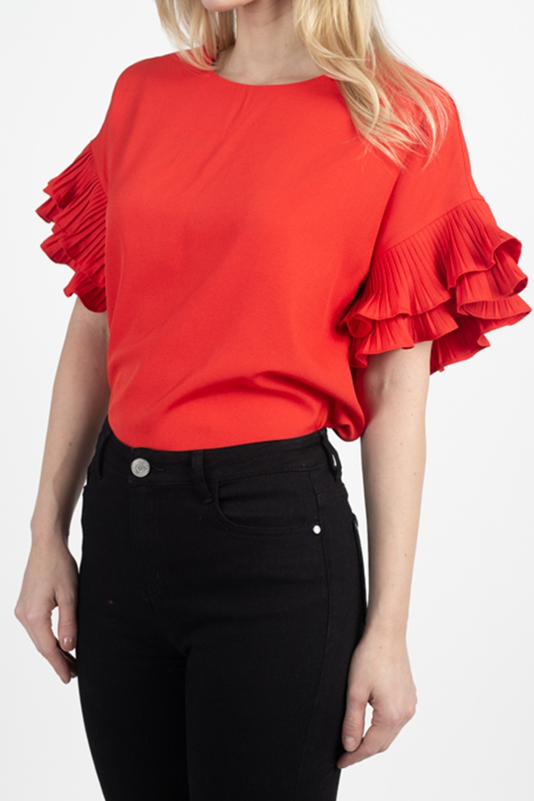 Ruffle Short Sleeve Blouse Shirts - orangeshine.com