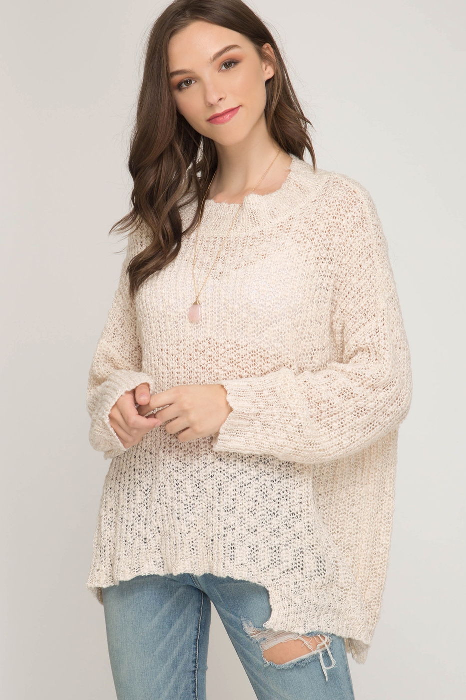 ASYMMETRICAL METAL YARN SWEATER TOP - orangeshine.com