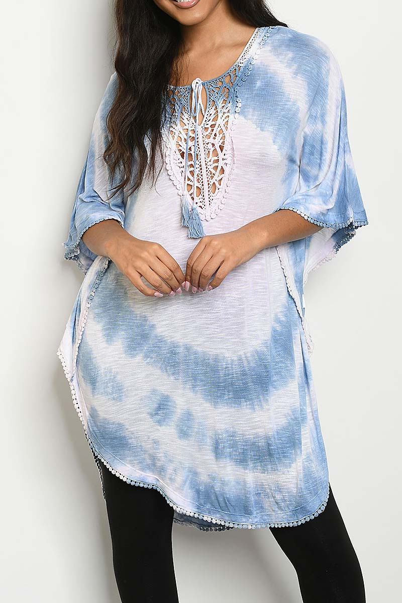 TIE DYE LACE TRIMMED TUNIC  - orangeshine.com