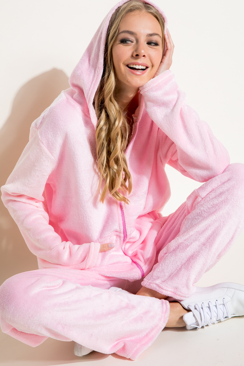 SOFT MINKY ZIP UP TRACK SUIT SET - orangeshine.com