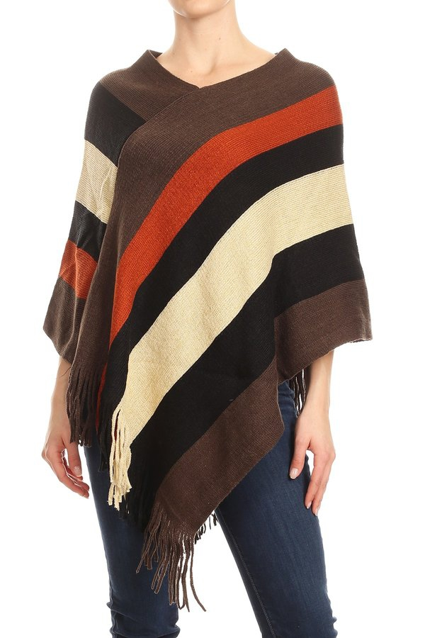 Stripes Ponchos Sweaters Winter - orangeshine.com