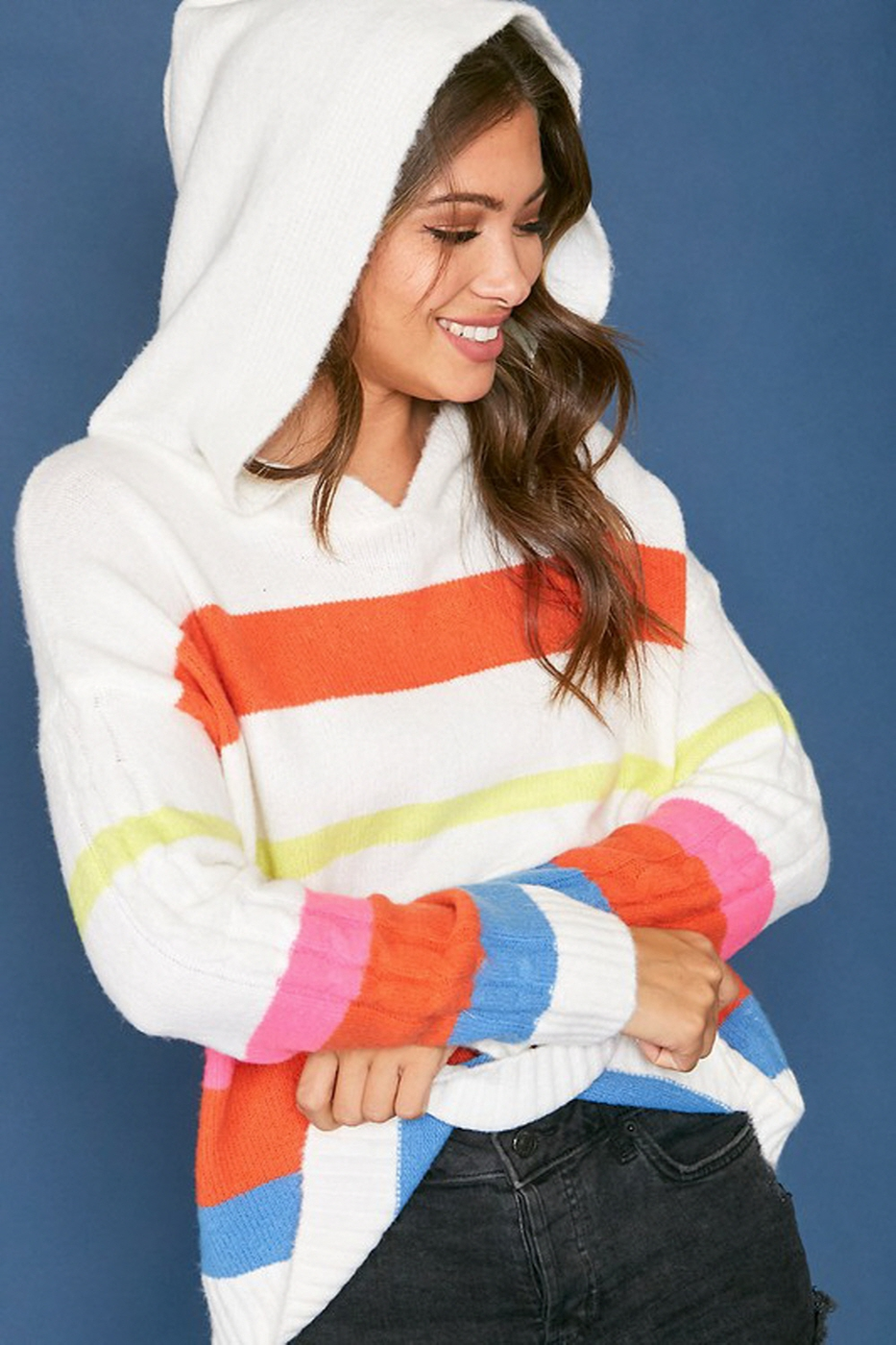 Color Striped Hooded Sweater Top - orangeshine.com