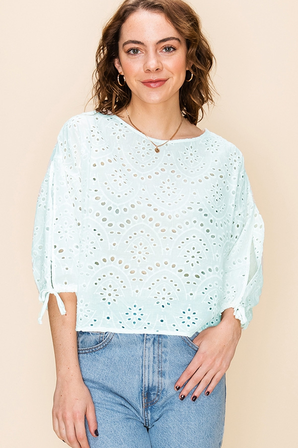 BALLOON SLEEVE EYELET TOP  - orangeshine.com