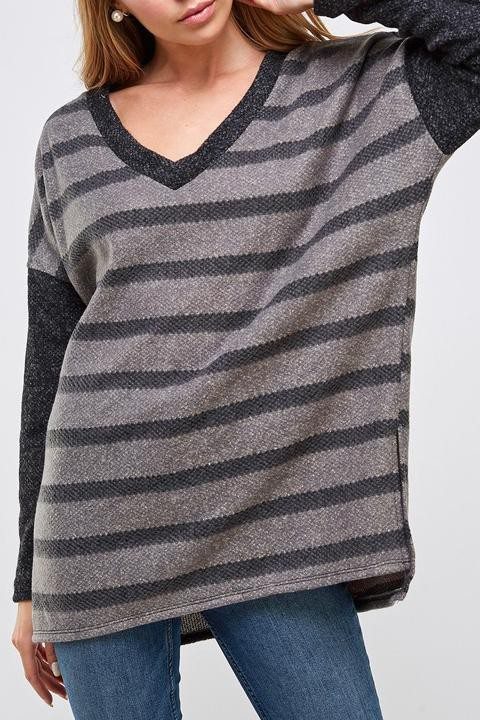 STRIPED V NECK LONG SLEEVE SWEATER - orangeshine.com