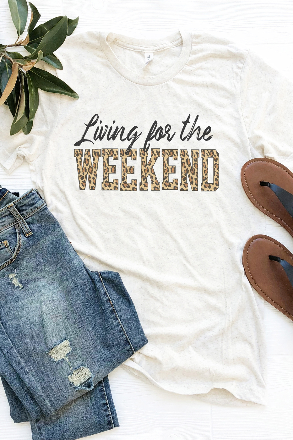 Living For The Weekend Leopard Tee - orangeshine.com