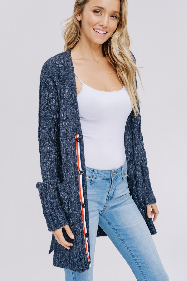 BUTTON UP CABLE KNIT CARDIGAN-IN STO - orangeshine.com