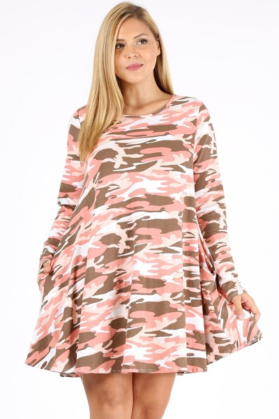 PLUS SIZE ARMY PRINT DRESS WITH POCK - orangeshine.com
