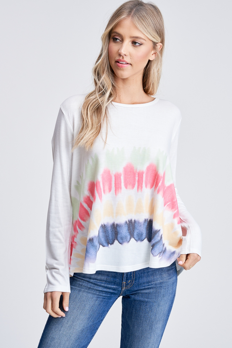 Tie dye boat neck flare bottom top - orangeshine.com