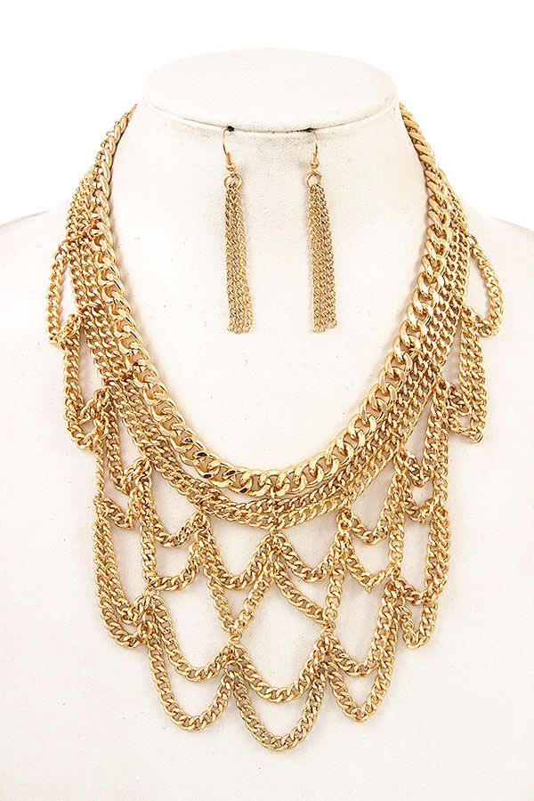 DRAPPED CHAIN NECKLACE SET - orangeshine.com