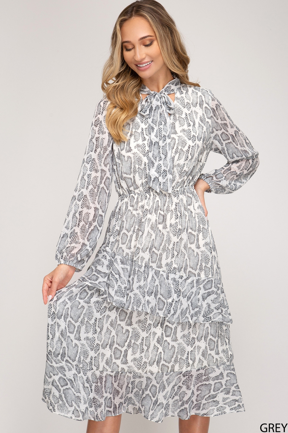 SNAKE PRINT MIDI DRESS WITH NECK TIE - orangeshine.com