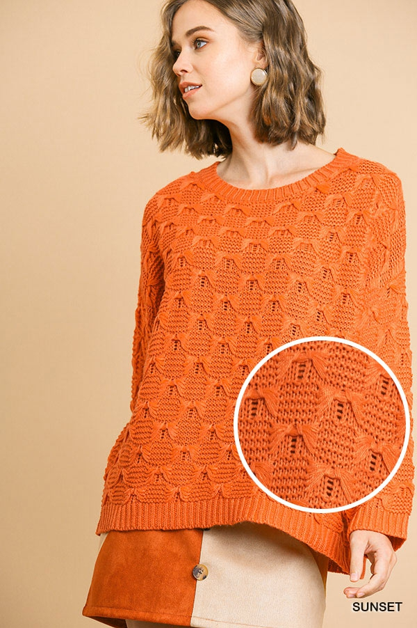 Acrylic Knit Pullover Sweater - orangeshine.com
