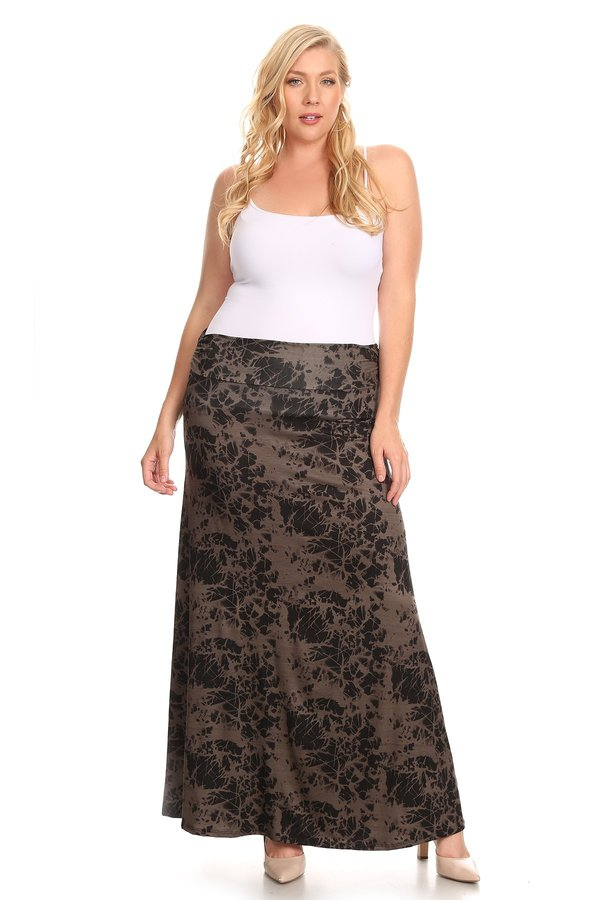 Flow Waist fold-over Maxi Skirt - orangeshine.com