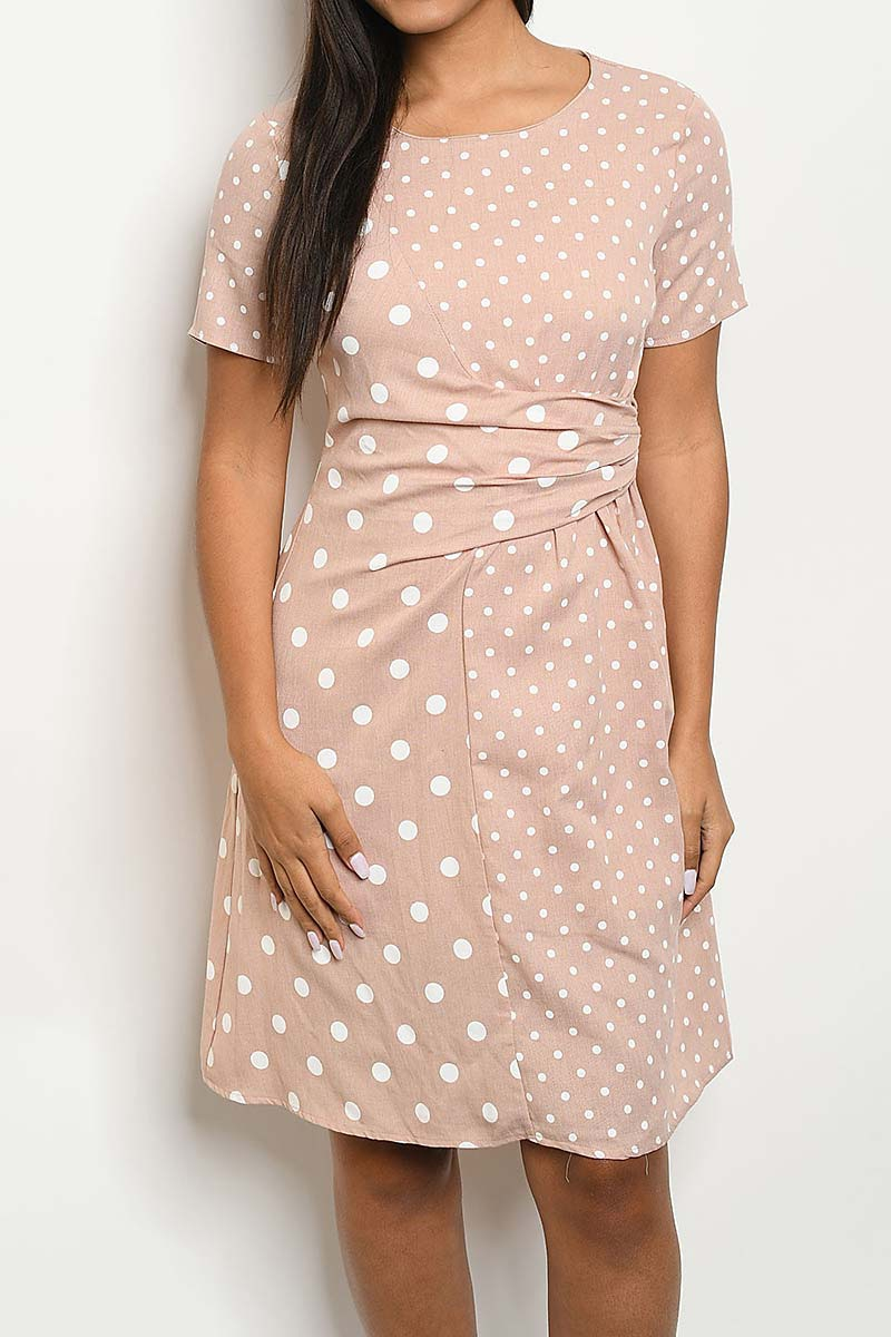 MIX POLKA DOT PRINT RUCHED DETAIL DR - orangeshine.com